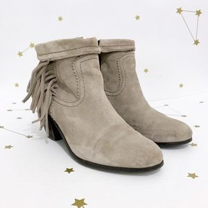 Sam Edelman • Gray Suede Fringed Ankle Booties 9